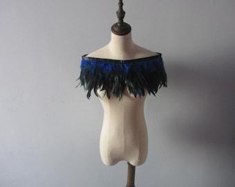 "D1  28"" long Burlesque  Royal Blue rooster coque feather Collar Shrug Cape"