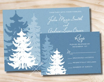WINTER PINE Wedding Invitation and Response Card Invitation Suite