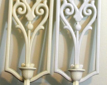 Vintage Homco White Plastic Wall Mount Candle Holders Sconce Pair Set Ornate Scrolling