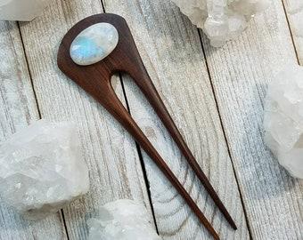 RAINBOW MOONSTONE Wooden Hair Fork, Hair Pin, Gemstone, Boho Bride, Updo, One of a Kind