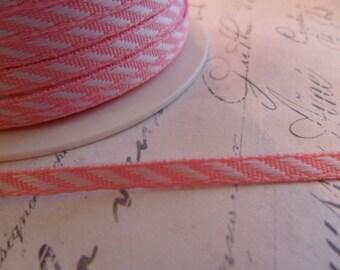 Petite Diagonal White and Pink Stripe Ribbon 1/8 inch wide