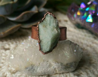 Amazonite | Electroformed | Gift | Adjustable | Birthday | Copper | Ring