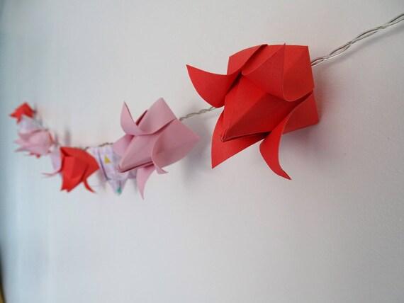 guirlande lumineuse origami fleurs de lotus. Black Bedroom Furniture Sets. Home Design Ideas