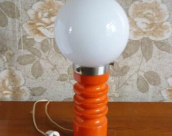 Orange design table lamp vintage 60s 70s