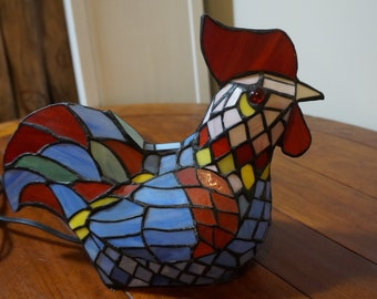 Vintage Stained Glass Chicken / Rooster Tiffany Styled Table Light 11'' x 12''