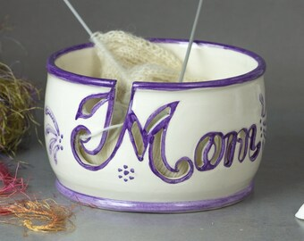 In STOCK Yarn bowl Knitting bowl Personalized MOM gift Unique OOAK Crochet Ceramic bowls White organizer Lavender Purple letters
