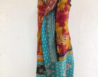 "Long, fitted, reversible ""Angela"" boho duster/vest made with hand quilted, vintage kantha cloth=-one of a kind"