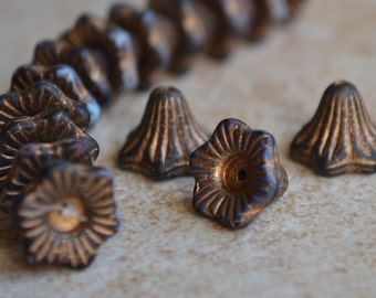 8 Old Patina Matte Black Bell Flower 13x10mm- Czech Picasso Beads (414-8)