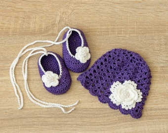 Violet baby etsy violet baby hat and shoes set baby girl flower hat shoes crochet summer hat crochet shoes newborn girl clothes baby girl gift negle