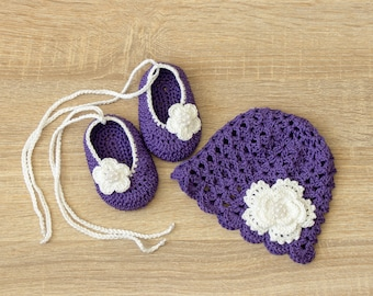 Violet baby etsy violet baby hat and shoes set baby girl flower hat shoes crochet summer hat crochet shoes newborn girl clothes baby girl gift negle Choice Image