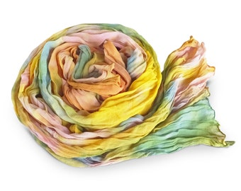 Womens scarves, pastel scarf, silk scarf pastels, rainbow pastel scarf, chiffon scarf, crinkle scarf, crinkle chiffon, mother's day gift