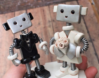 Robot Wedding Cake Topper READY TO SHIP Robot Bride Groom Big Smiles Light Rustic Finish (4 inches)