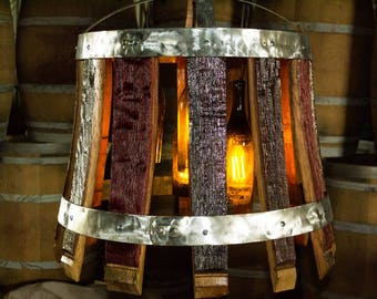 The Rioja Chandelier, handcrafted from reclaimed napa valley wine barrels.