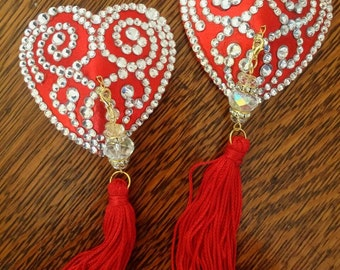 Heart crystal rhinestone burlesque pasties, nipple tassels- Made to Order- by D. Lovely Pasties Design