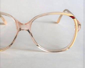 Vintage 80s Eyeglasses Pink Cream Red Clear 70s Eyeglasses, Vintage Oversized Eyeglasses, Indie Hipster Eyeglasses, Clear Eyeglasses