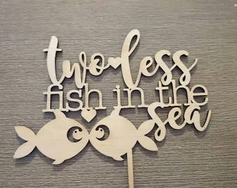 Cute wedding cake topper - Two Less Fish In The Sea - Made in Melbourne - Art On Point