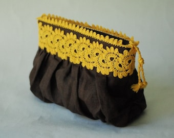 Linen clutch purse with hand crocheted laces - yellow and brown
