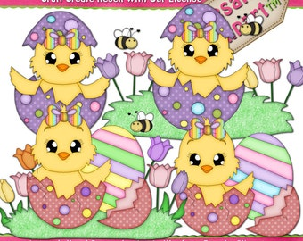 Easter Chick Girls N Eggs 1 Clipart (Digital Download PNG)
