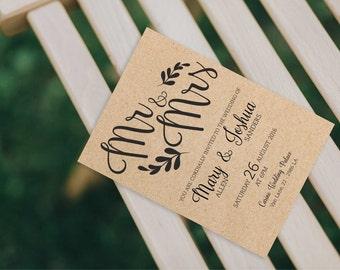 Wedding Invitation Suite, Kraft Wedding Invites, Printable Digital PDF, Mr and Mrs wedding invitations, Mr&Mrs