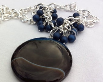 Necklace in 925 Sterling Silver and Druzy- Luna OOAK- custom design
