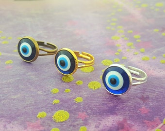 Evil Eye Ring, Eyeball Ring, Silver Eye Ring, Gold Eye Ring, Bronze Eye Ring, Blue Evil Eye, Evil Eye Jewellery, Greek Talisman, Turkish