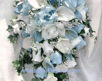 Light Blue & White Cascade Bridal Bouquet ~ Gorgeous Quality Real Touch Roses Calla Lilies Silk Wedding Flowers