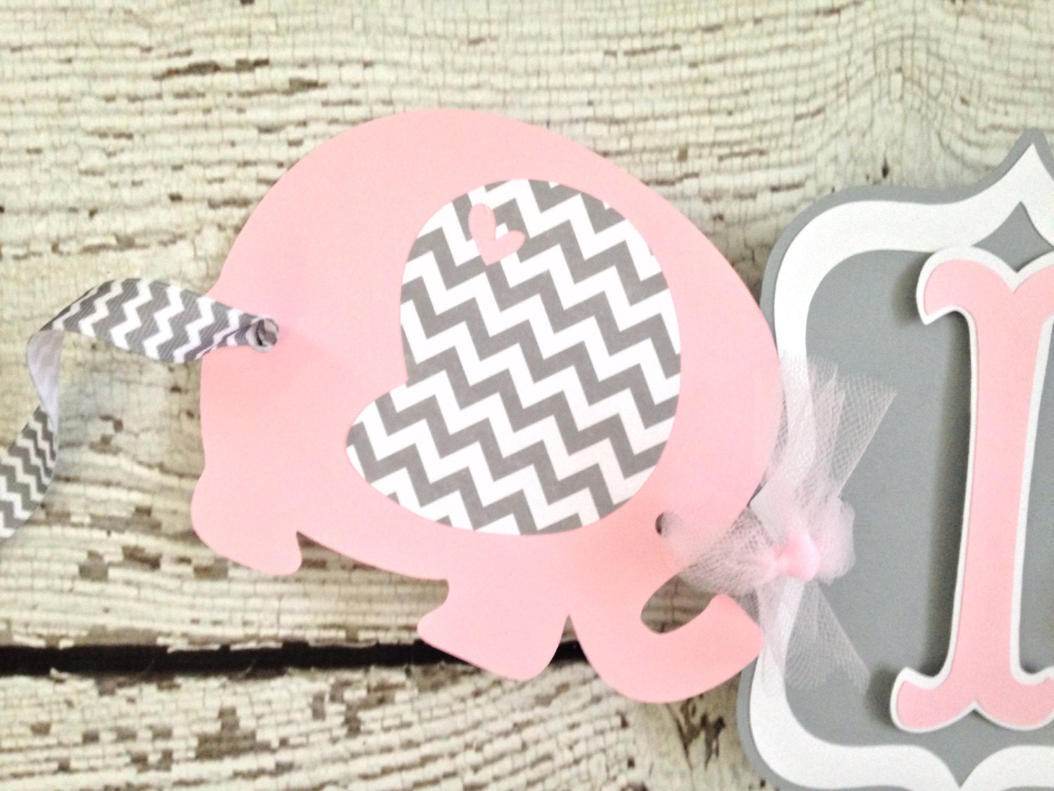 Elephant Banner In Pink And Gray, Pink And Gray Baby Shower Banner, Pink  And Gray Chevron Baby Shower Decorations