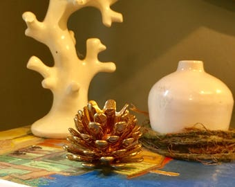 Brass pine cone statue figurine vintage boho jungalow decor/fall decor