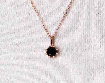 Small Black Onyx Necklace in 14k Rose gold, Bridal Jewelry, Minimalist Pendant, Delicate Necklace, Birthstone