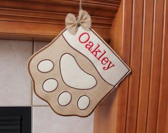 Dog Stocking Personalized,Cat Stocking, Paw print Stocking,custom name, Personalized Pet Stocking, Christmas stocking for Pet, 2 Sizes.