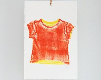 Customizable children's t-shirt print, kinderkleding, children's room decor, hand printed wall art, orange, yellow, summer decor