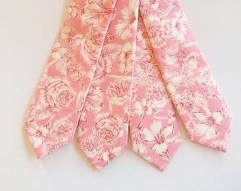 SHIPS IMMEDIATELY, pinkLiberty of London tie, blush mens tie, blush pink necktie, liberty of london, skinny tie, wedding necktie, pink tie