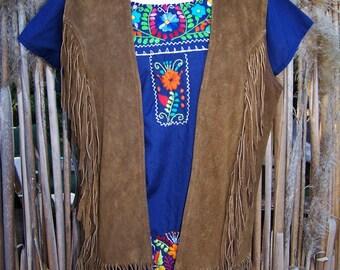 70s Leather vest, Fringe leather vest, 70s hippie vest, Brown suede vest, Vintage Fringe vest, size M / L