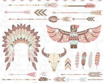 Tribal Clipart pack «Indien CLIP ART», coiffe de plumes, plumes, flèches, tête de mort, bison, frontières, clipart indien, mariage invitationTrb004