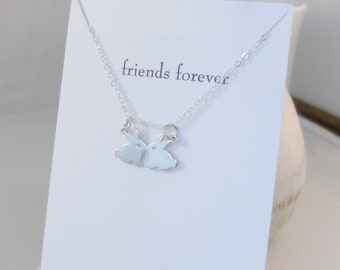 Friends Forever,Friendship Necklace,Kissing Bunnies,Sterling Silver Bunny Necklace,Rabbit Necklace,Kiss,Bunny Necklace,Easter Necklace