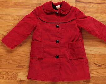 NOS - Cherry Red Vintage 1960's Little Girls Coat in Size 6, Wide Wale Corduroy With Warm Black Pile Lining