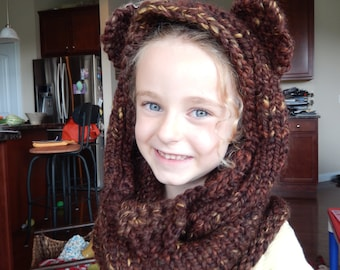 Knit hood and cowl