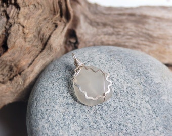 Funky White Sea Glass/ Sterling Silver Wire Wrapped Pendant/ Sea Glass Necklace