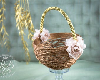 Rose Gold  Flower Girl Basket, Wedding Basket, Rose Gold Wedding, Rustic Wedding Flower Girl, Rustic Flower Basket, Flower Girl Set, 1 pcs