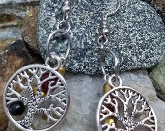 Golden Tree Dangle Earrings