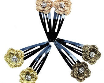 3 Pairs of Hair Clips With Handmade Crochet Zari Motifs