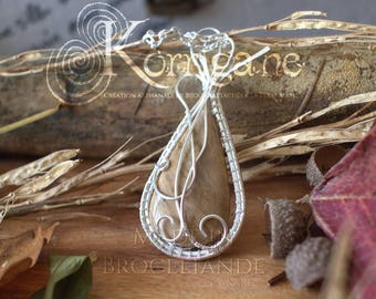 Entrelacs pendant petrified wood - Wire Wrapping - Copper Wire Wrapping Gemstone