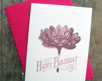 Happy Lotus Birthday - Letterpressed card