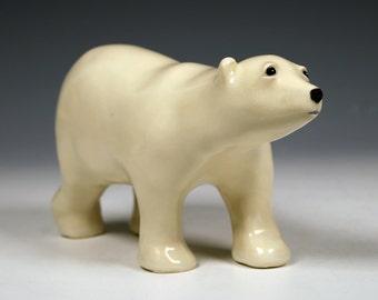 Ceramic standing polar bear sculpture, handcrafted original art sculpture, creamy satin glazed animal sculpture