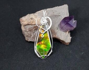 Ammolite Wire Wrapped Pendant, Gemstone Pendant, Ammolite Jewelry, Sterling Silver Jewelry, Alberta Ammolite, Wire Wrapped Ammolite