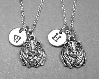 Best friend necklace, hamster necklace, animal necklace, bff necklace, friendship jewelry, sister necklace, personalized necklace, initial