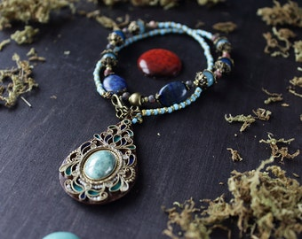 Blue boho necklace natural stones, tribal blue necklace, Indian dark blue jewelry, ethnic blue necklace natural stones