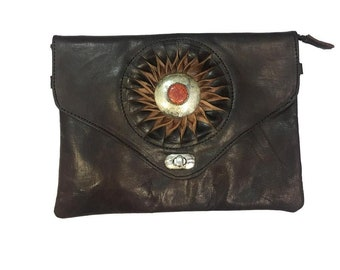Handbag leather dark brown, handbag boho woman tacks and stone