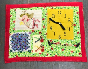 Fidget Sensory Activity Blanket Alzheimer Dementia Special Needs Autism Elderly Care Quilt