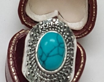 Estate Very Cute  Huge Sterling Silver Turquoise Ring
